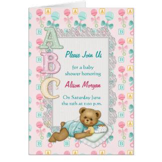 ABCのテディのシャワーの招待状 カード