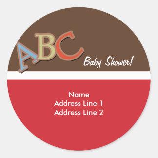 ABCのベビーシャワーの宛名ラベル/封筒用シール ラウンドシール