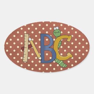 ABCみみず、定規、鉛筆の学校のおもしろいのステッカー 楕円形シール