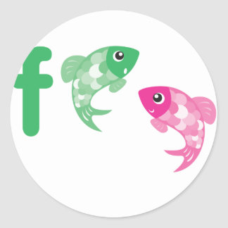 ABC動物-魚 ラウンドシール