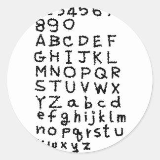 ABC文字および数 ラウンドシール