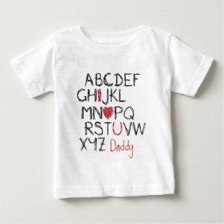 ABC Iのハート名前入りな ベビーTシャツ