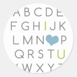 ABC I愛。 緑および淡いブルー ラウンドシール