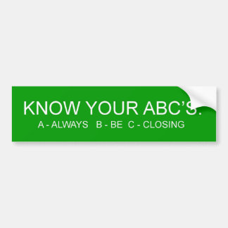 ABCs バンパーステッカー