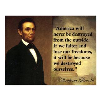 """Abeリンカーンの引用文""""アメリカ決してありません… """"は ポストカード"""