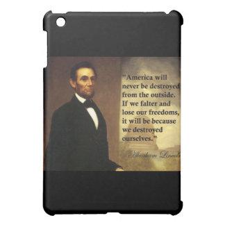 """Abeリンカーンの引用文""""アメリカ決してありません… """"は iPad miniカバー"""