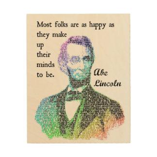 Abeリンカーン色の感動的な引用文の木製のプリント ウッドウォールアート