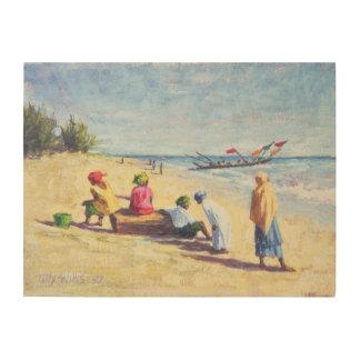 Abeneセネガル1997年のビーチ ウッドウォールアート