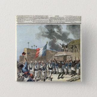 Abomeyに入るフランスのな旗 5.1cm 正方形バッジ