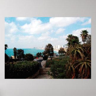 Abrasha公園、Jaffa、イスラエル共和国からのテル・アビブの写真 ポスター