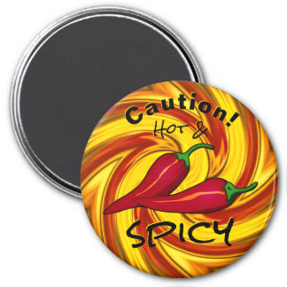 abstract fiery swirl caution hot & spicy マグネット