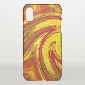abstract fiery swirl gold red orange iPhone x ケース