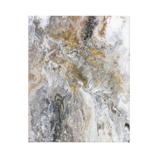 Abstract Painting Gray Black Gold White Artwork キャンバスプリント