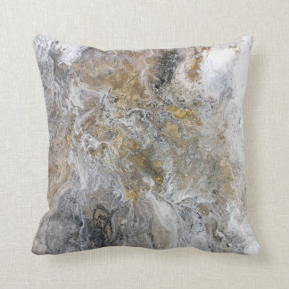 Abstract Painting Gray Black Gold White Artwork クッション