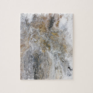 Abstract Painting Gray Black Gold White Artwork ジグソーパズル
