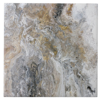 Abstract Painting Gray Black Gold White Artwork タイル