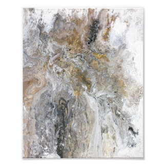 Abstract Painting Gray Black Gold White Artwork フォトプリント
