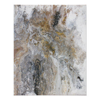 Abstract Painting Gray Black Gold White Artwork ポスター