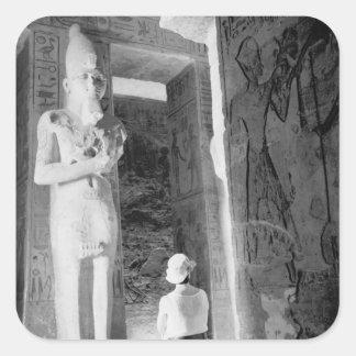 Abu Simbelエジプト、寺院(NR)の中の観光客 スクエアシール