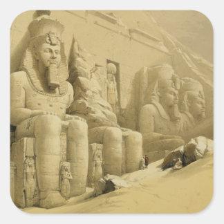 """Abu Simbel、""""エジプトからのNubiaの素晴らしい寺院、 スクエアシール"""