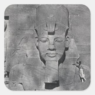 Abu Simbel 1850年のRamesses IIの巨大な彫像 スクエアシール