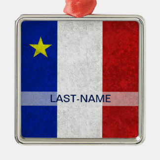 Acadian旗の姓の動揺してなグランジ個人化なります メタルオーナメント