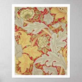 Acanthusの葉および野生は深紅色のbackgroに上がりました ポスター