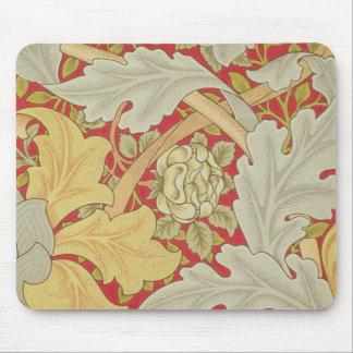 Acanthusの葉および野生は深紅色のbackgroに上がりました マウスパッド