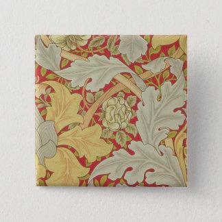 Acanthusの葉および野生は深紅色のbackgroに上がりました 5.1cm 正方形バッジ