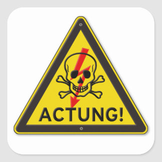 Actungの有毒などくろ印の警告標識 スクエアシール