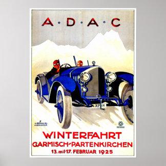 ADACのドイツのオートレースの~のヴィンテージの自動車広告 ポスター
