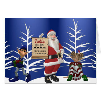 "Add Child's Name ""Santa's Nice List"" Holiday カード"