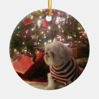 Add pet photo/person Christmas Tree Ornament セラミックオーナメント