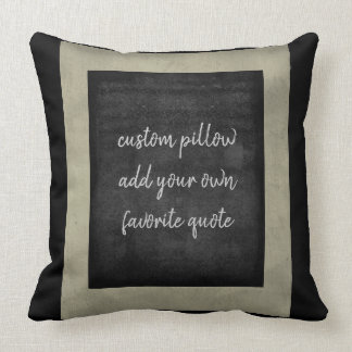 add your own quote pillow for custom decor in gray クッション