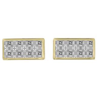 Adinkra白黒パターン ゴールド カフスボタン