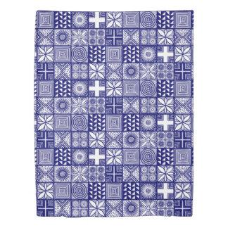Adireパターン-深い青および白い 掛け布団カバー