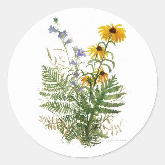 Adirondackの花柄のステッカー ラウンドシール