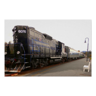 Adirondackの鉄道ロコモーティブの列車の長期的視野 ポスター