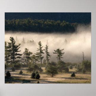 Adirondacksの朝の霧 ポスター