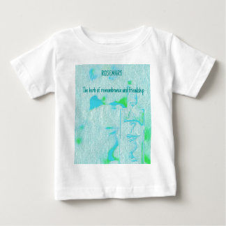 Adjustibleの文字のアクアマリンのローズマリーの草の意味 ベビーTシャツ