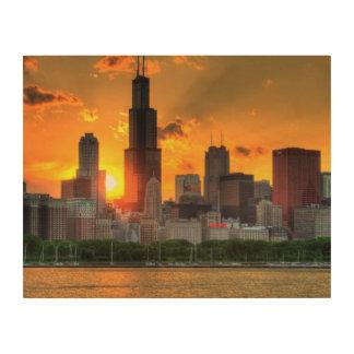 Adlerからのシカゴのスカイラインの眺め ウッドウォールアート
