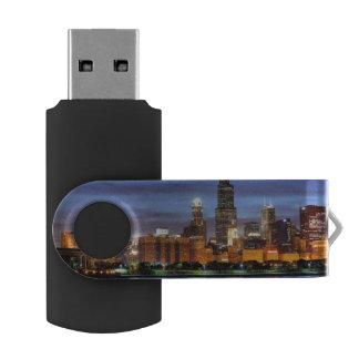 Adlerのプラネタリウムからのシカゴのスカイライン USBフラッシュドライブ