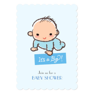 Adorable baby boy Baby shower invitation カード