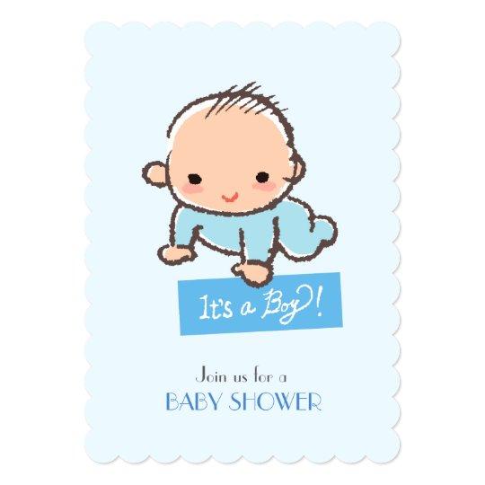 Adorable baby boy Baby shower invitation カード