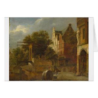 Adriaen van de Velde著可動橋との都市景観 カード
