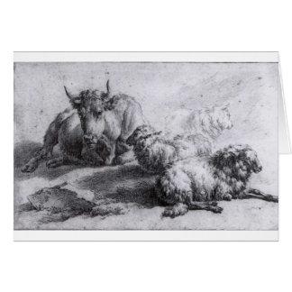 Adriaen van de Velde著牛そして3頭のヒツジ カード
