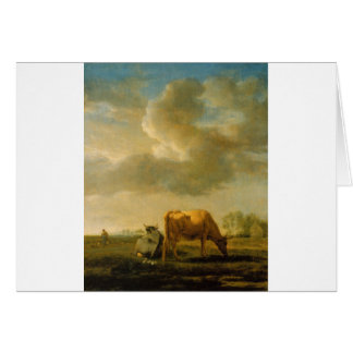 Adriaen van de Velde著草原の牛 カード