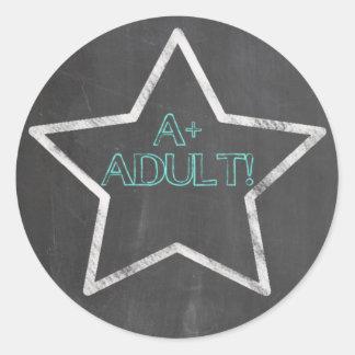 Adultingの金ゴールドの星のステッカー--A+ 大人 ラウンドシール