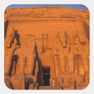 AF、エジプト、Abu Simbel。 素晴らしい日没の正面 スクエアシール