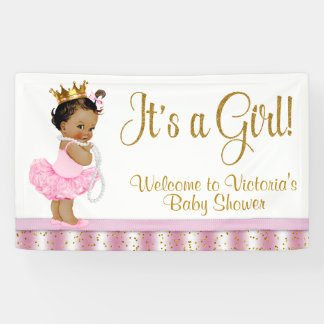 African American Princess Baby Shower Banner 横断幕